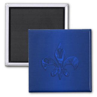 Blue Fleur de Lis Square Magnet