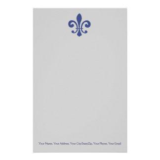 Blue Fleur De Lis Stationery