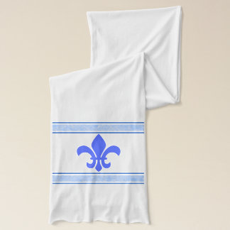Blue Fleur des lis With With Marbled Accents Scarf