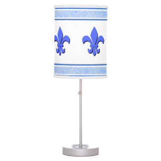 Blue Fleur des lis With With Marbled Accents Table Lamp
