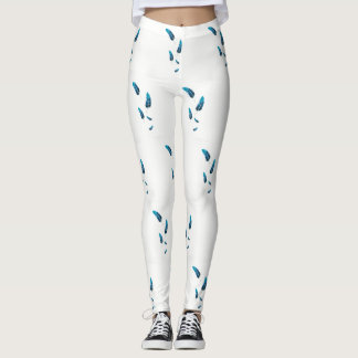Blue Floating Feathers Leggings