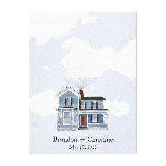 Blue Floating Home Fingerprint Guestbook Canvas Print