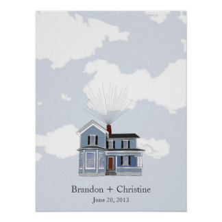 Blue Floating Home Fingerprint Guestbook Posters