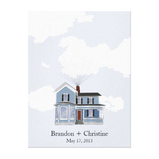 Blue Floating Home Fingerprint Guestbook Stretched Canvas Print