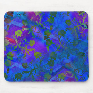 Blue Floral Abstract Mouse Mats