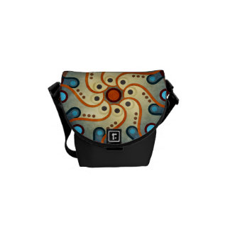 Blue Floral Abstract Vector Artt Mini Bag Messenger Bags