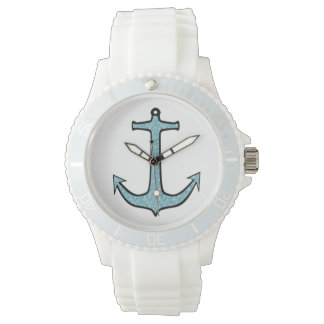 Blue Floral Anchor Watch