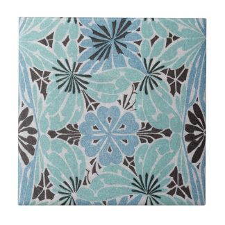 blue floral art nouveau design tile