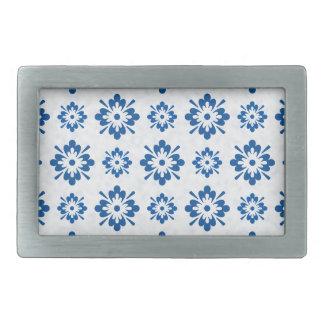 Blue floral art pattern belt buckle
