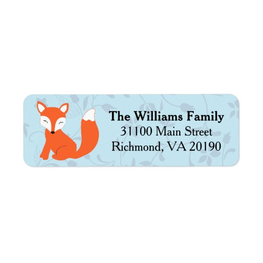 Blue Floral Baby Fox Return Address Label