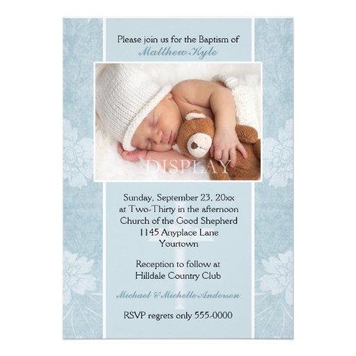 Blue Floral Baptism Photo Invitation