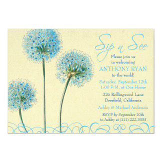 Blue Floral Birth Baby Shower Sip and See Card