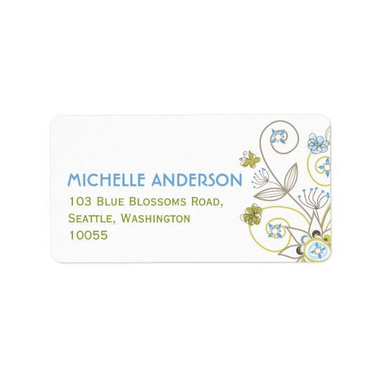Blue Floral Blooms Cute Baby Shower Address Labels