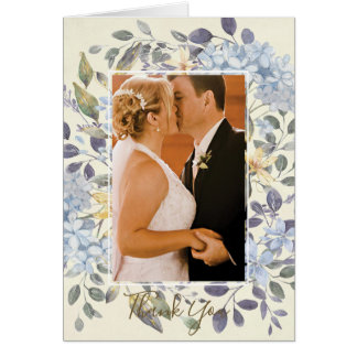 blue floral botanical wedding thank you photo card