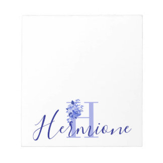 Blue Floral Bouquet over Monogram and Name Notepad