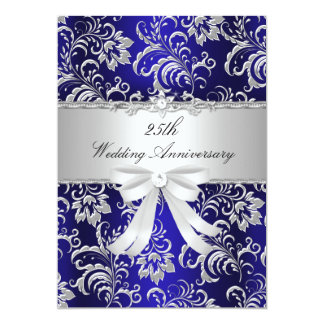 Blue Floral & Bow 25th Wedding Anniversary Invite