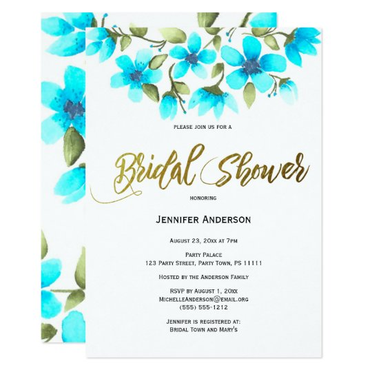 Blue Floral Bridal Shower Card