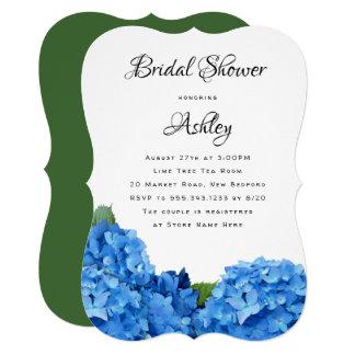 Blue Floral Bridal Shower Hydrangea Invitations