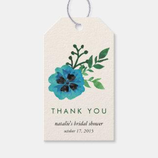 Blue Floral Bridal Shower Thank You Favor Tags
