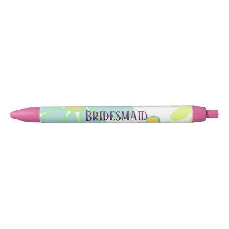 Blue Floral Bridesmaid Black Ink Pen