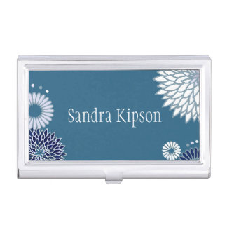 Blue Floral Business Card Holder