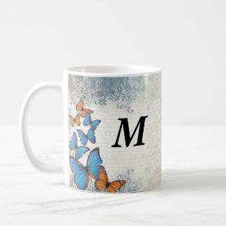 Blue floral butterflies coffee mug