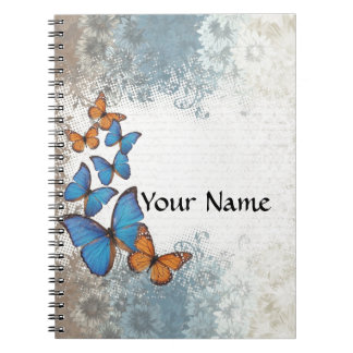 Blue floral butterflies spiral notebook