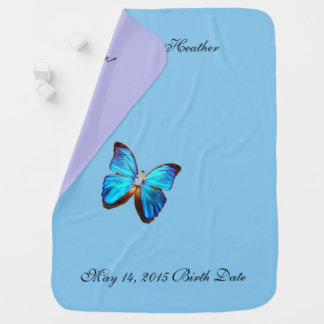 BLUE FLORAL  BUTTERFLY BABY BLANKET