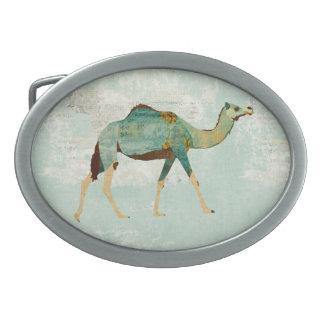 Blue Floral Camel Belt Buckle