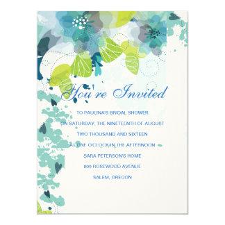 Blue Floral Cascading Invitation