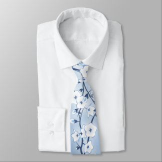 Blue Floral Cherry Blossoms Tie