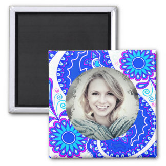 Blue Floral/Custom Photo Square Magnet