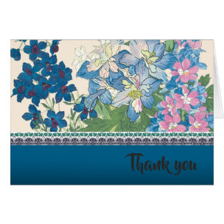 Blue Floral Custom Text Design Card