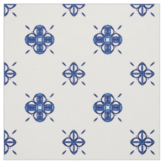 Blue Floral Damask Pattern Fabric