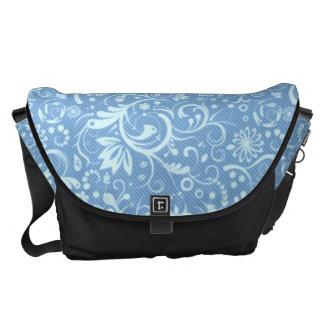 Blue Floral Damask Pattern Messenger Bags