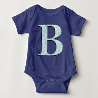Blue Floral Damask Print B monogram initials Baby Bodysuit