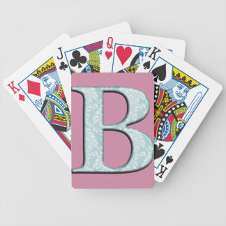 Blue Floral Damask Print B monogram initials Bicycle Playing Cards