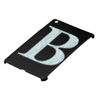 Blue Floral Damask Print B monogram initials Cover For The iPad Mini