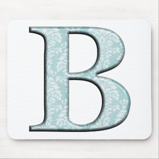 Blue Floral Damask Print B monogram initials Mouse Pad