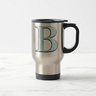 Blue Floral Damask Print B monogram initials Travel Mug