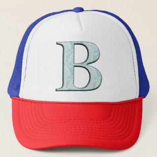 Blue Floral Damask Print B monogram initials Trucker Hat