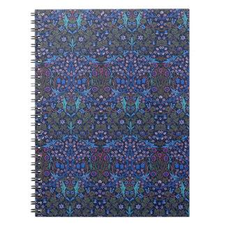Blue Floral Damask William Morris Art Nouveau Note Spiral Notebook