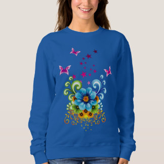 Blue Floral Dark Sweatshirt