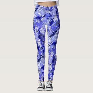Blue Floral Design Leggings