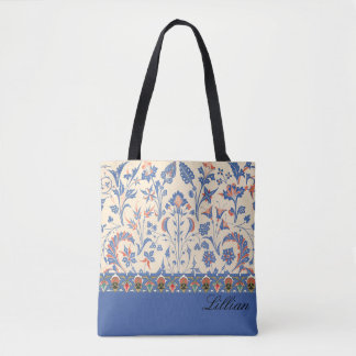 Blue Floral Design Tote Bag