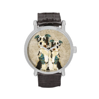 Blue Floral Dogs Vintage Watch