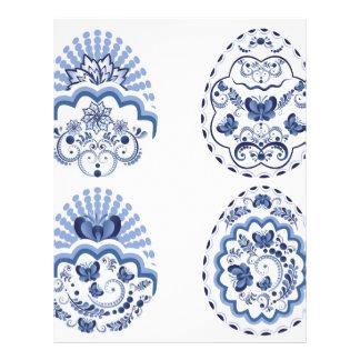 Blue Floral Easter Eggs2 Customized Letterhead