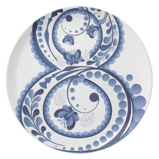 Blue Floral Eight3 Plate