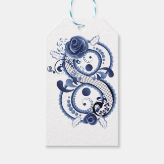 Blue Floral Eight Gift Tags