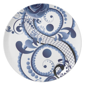 Blue Floral Eight Plate